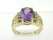 Gorgeous Engraved Amethyst & Genuine Diamonds Solid 14K Yellow Gold Ring