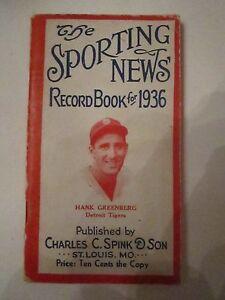 1936 THE SPORTING NEWS RECORD BOOK - HANK GREENBERG - NICE - TUB AA