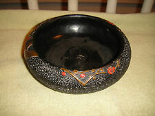 Superb Japan Footed Pottery Candy Bowl Dish-Raised Texture-Black Color-Unusual