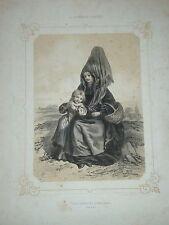 GRANDE Litho. 40 x 30cm COSTUME NORMANDIE PONT L'EVEQUE 1850 CALVADOS FEMME MODE