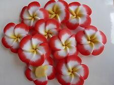 5 X Large Naranja y Blanco arcilla polimérica cuentas de flor 34 mm abalorios manualidades resina