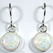 8mm White Fire Opal 925 Sterling Silver Dangling Earrings - Handcrafted in USA