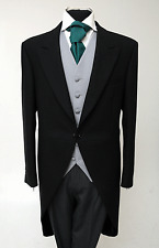 MJ-53 MENS BLACK TAILCOAT WEDDING MORNING SUIT TAILS JACKET ASCOT