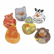 SAFARI RUBBER DUCKS DUCKIES (LOT OF 12) NEW sAFAI zOO aNIMAL zEBRA mONKEY tIGER+