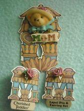 Hillman Mom Bear Brooch & Earrings Pink RoseCherished Teddies New Vtg Enescoa