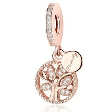 NEW Rose Gold Family Heritage Tree Charm Dangle 925 Silver Mum Daughter 781728CZ