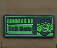 "PVC / Rubber Patch ""Running On...Hulk Mode"" with VELCRO® brand hook"
