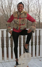 Designer Nurcini grey island fox fur & red studded leather Coat jacket S 0-6/8
