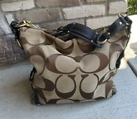 Coach Carly Khaki Brown Signature Canvas Leather Large Hobo Shoulder Bag 10620
