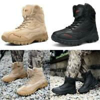 Mens Tactical Military Boots Mid-Ankle Leather Shoelace Trekking Hike Work Shoes