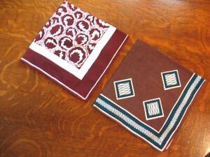2 Vintage Hankies Bold Abstract Prints Cotton Maroon Brown Green Pocket Square?