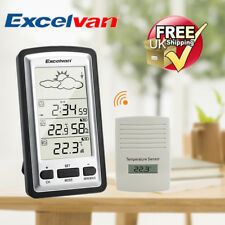 LCD Wireless Weather Station Temperature Humidity Monitor Indoor Outdoor Sensor