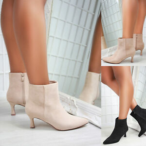 New Womens Kitten Heel Pointed Toe Suedette Ankle Boots Shoes Sizes 3-8