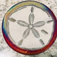 Sand Dollar Coaster Raku Pottery, handmade, handsigned - NEW