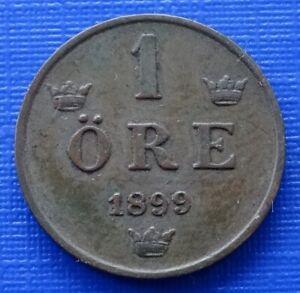 Sweden 1 Ore Coin~1899 Oscar II~KM#750~Bronze 2g~EF~#289