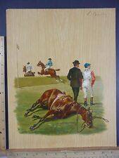 Rare Antique Original VTG 1900 Fallen Horse Hurdle & Jockey Litho Art Print