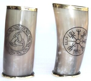 """Set of 2 viking symbols carved viking drinking horn cups 6"""" for beer ale mead"""