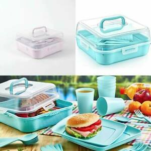32 Piece Plastic Picnic Camping Party Dinner Plate Mug Cutlery Set Storage Box