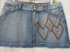 KIPPYS Womens Skirt Jean Denim Mini Distressed Studded Swarovski Crystal LARGE