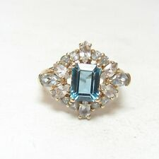 Estate 10K Yellow Gold 2.00 Ct Natural London Blue Topaz Ring 4.00 Cts Total