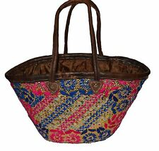 Moroccan Straw Beach Bag Handmade Woven Fashion Beach Basket Shopper Bag Large