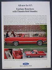 1967 Ford Fairlane Ranchero 390 V8 red pickup-car photo vintage print Ad