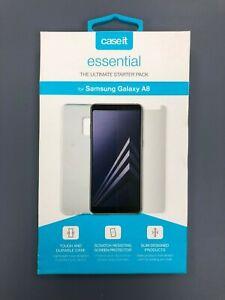 Samsung Galaxy A8 2018 Genuine CaseIt Clear Gel Cover + Film Screen Protector