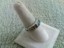 Turquoise & Red Coral Uni-Sex Ring   Various Sizes Available