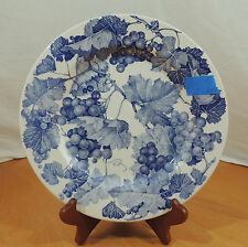 "Crate & Barrel Blue White Grape Leaves Dinner Plate 10 1/4"" Manufacturers Flaw"