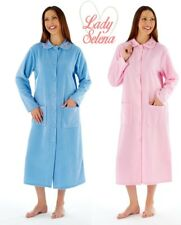 LADIES*CLASSIC FLEECE BETHAN PETER PAN COLLAR, BUTTON THROUGH DRESSING GOWN 472