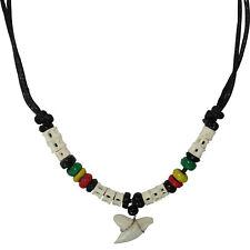Shark Tooth Pendant Black Cord Chain Rasta Beads Surfer Necklace Mens Jewellery