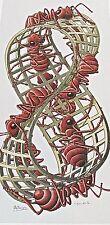 M C Escher Mobius Strip II Interlocking Chains  Red Ants   16X11 13 1/2 x 6
