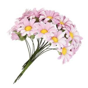 100pcs Artificial Flower Heads Cloth Daisy Wedding DIY Clips Brooch Pink
