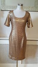 Joanna Hope Gold Sequinned Gatsby Sheath Ladies Party Dress size 10