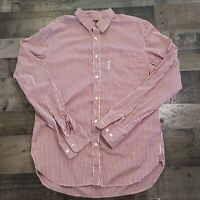 Faconnable Contemporary Button Up Down Dress Shirt Men's Large Red White Striped