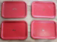 Lot of 4 Vintage Red Metal Lap TV Trays