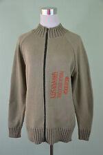 JOHN ROOSE Mens Vtg Retro Style Green Hippy Thin Knit Zip Cardigan sz M H52