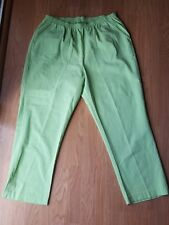 Womens Haband Lime Green Cotton Blend Elastic Waist Pull On Pants Size 38A