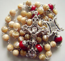 Sterling 925 Silver 6PCS 10MM Coral Beads & Tridacninae Rosary cross necklace