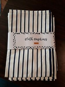 🌟 Set of 4 Off White And Navy Striped Cloth Napkins (#A5)