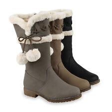 Warm Gefütterte Damen Stiefel Kunstfell Winterstiefel 814059 Schuhe