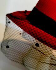True Vintage Hat MR JOHN New York Paris Net  With Polka Dots Straw Hat