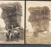 1908 Colorado Springs RPPC 2x Mule Garden Gods Balanced Rock Real Photo PostCard