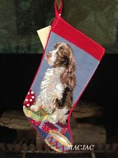 Springer Spaniel Dog Needlepoint Christmas Stocking NWT