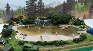 NEW HO CAMPING SCENE WALTHERS PREISER TENTS PEOPLE POND BOAT TRUCKS BEACH TREES
