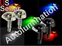 Black Chrome LED Windshield Washer Wiper Hood Mounted Spray Nozzles