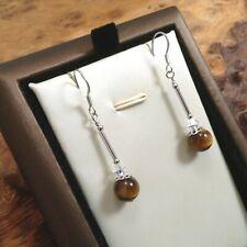 Tiger's Eye, Crystal & 925 Sterling Silver - Brown - Drop Dangle Hook Earrings