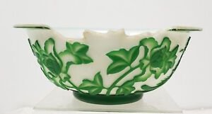 Antique Chinese Carved Peking GLass Overlay Green Bowl Pheonix DAMAGED AS IS