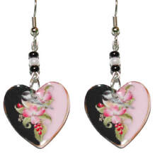 PINK & BLACK BIRD ON FLOWERS HEART DANGLE EARRINGS (EH007)