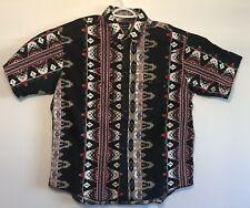vtg Vintage Wrangler Pearl Snap Shirt Aztec Western Short Sleeve Pockets XXL